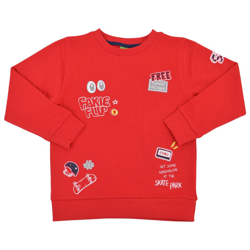 Спортна памучна блуза с щампи червена