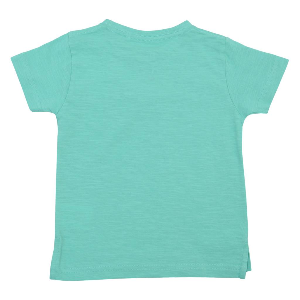 Лятна детска блуза с джобче и емблема зелена