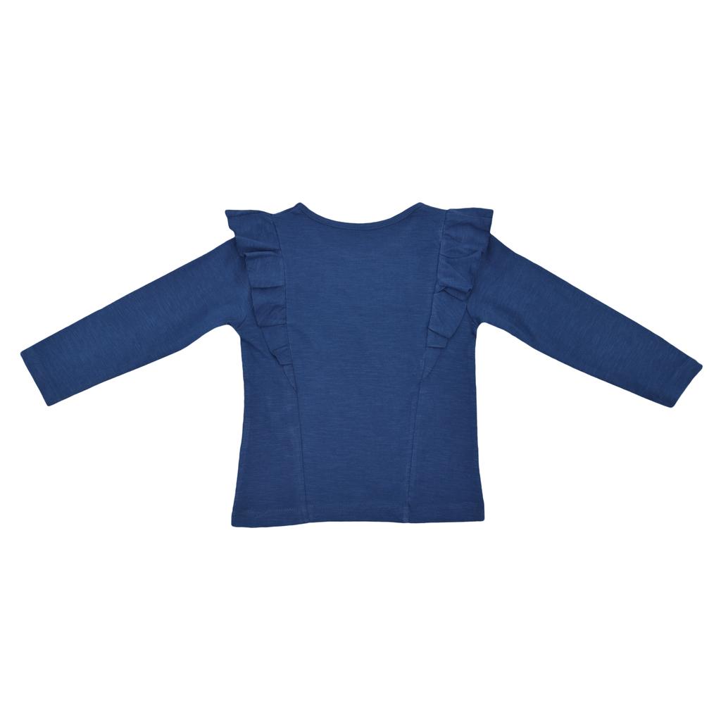 Блуза дълъг ръкав с платки и къдри синя