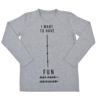"""Блуза """"I want ot have fun"""" с дълъг ръкав сив меланж"""
