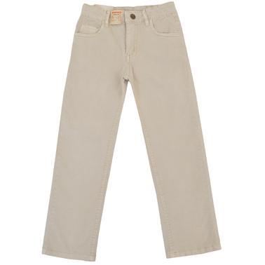 Памучен панталон с прав крачол и джобове бежов