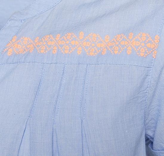 Детска ежедневна рокля с щампа с етно мотиви и колан Tom Tailor светло синя