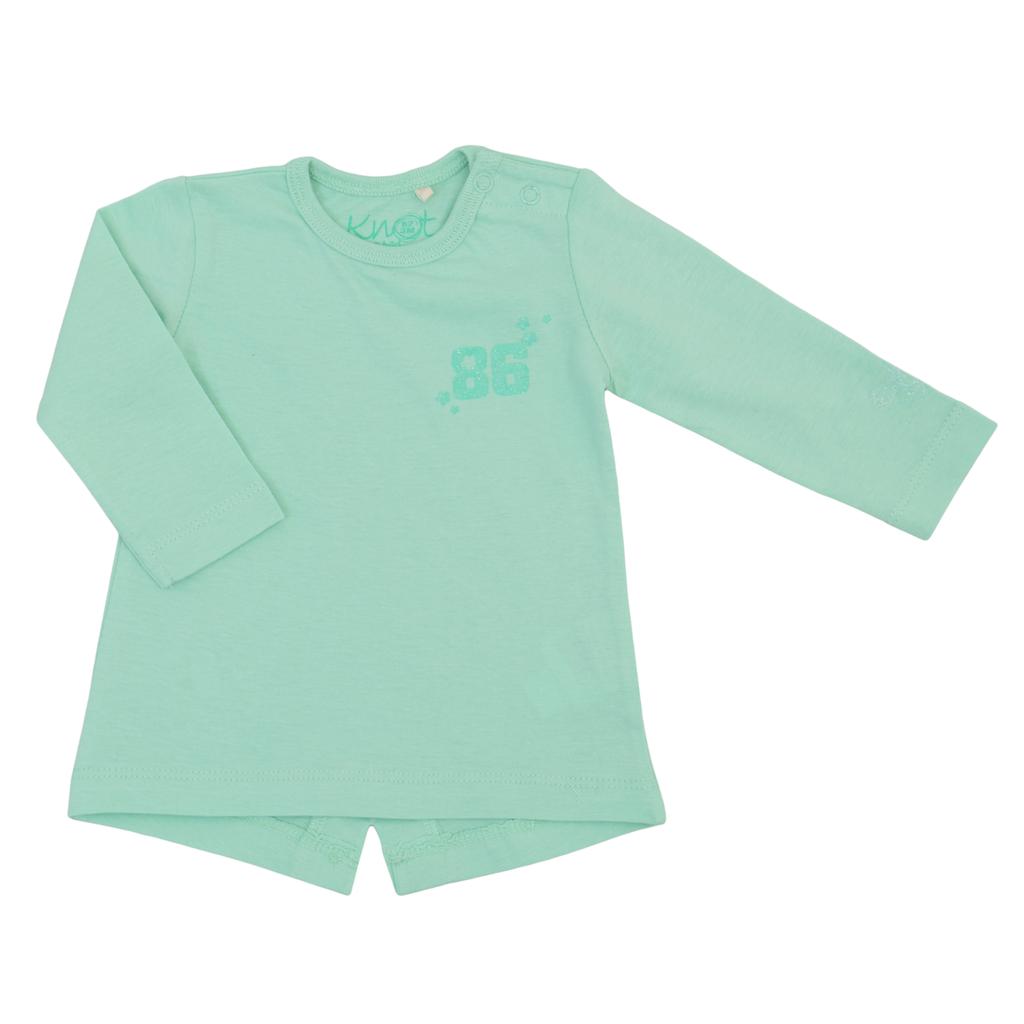 Бебешка туника с щампа с номер 86 зелена