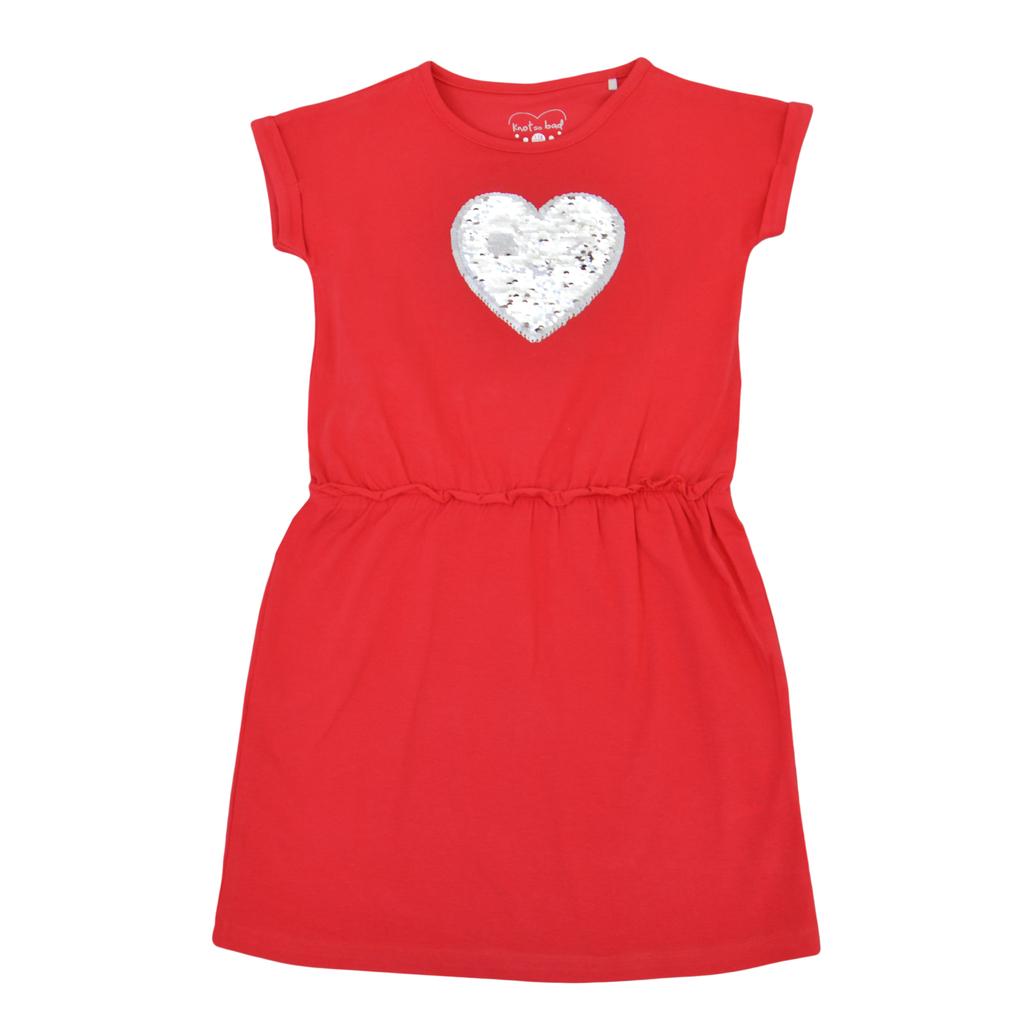 Трикотажна рокля със сърце от пайети в наситено червено