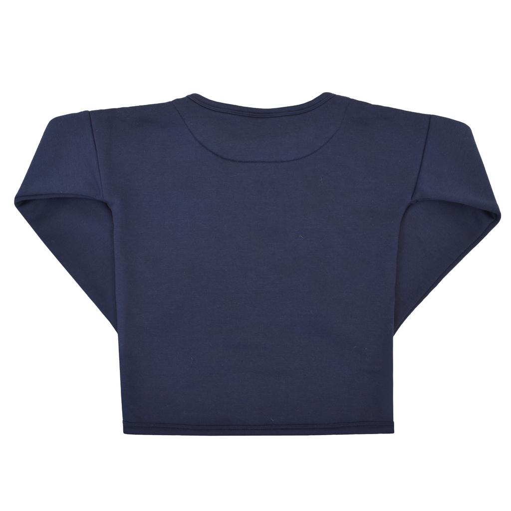 Ватирана блуза с модерен дизайн и рошав надпис тъмно синя