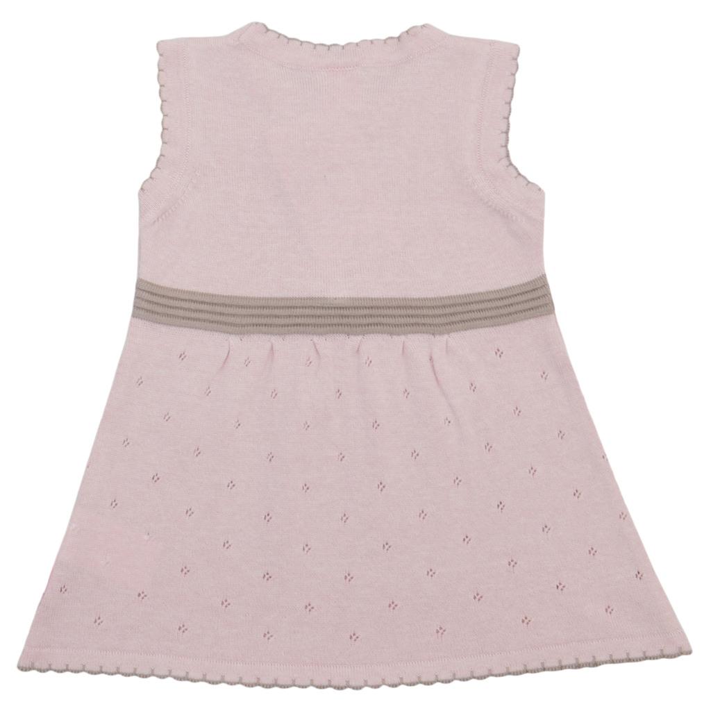 Елегантен сет от фино плетиво с рокля и жилетка розов
