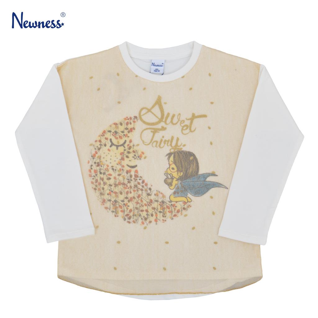 Мека трикотажна блуза Newness с луна и фея бяла