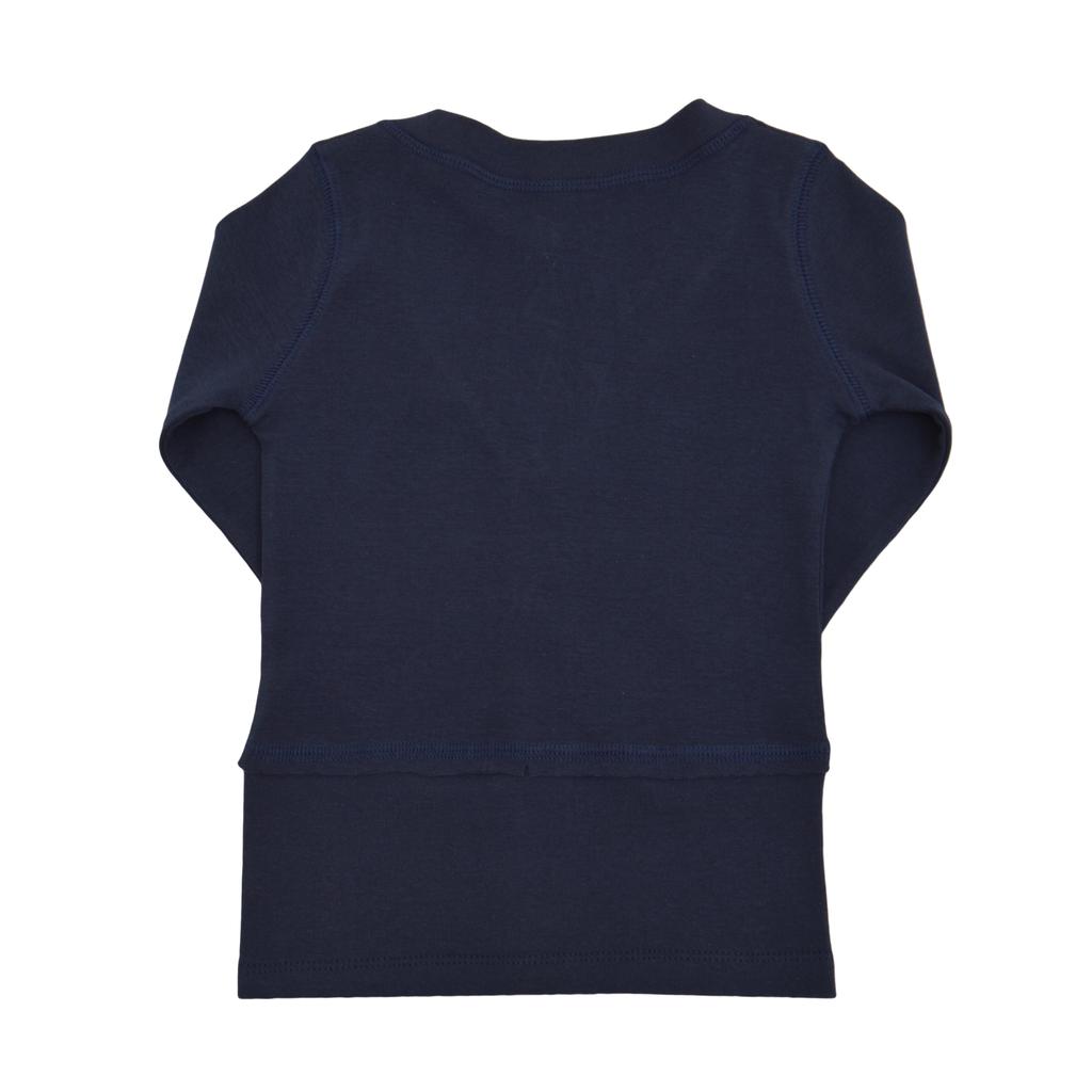 Ежедневна жилетка с копенца във формата на детелинки тъмно синя
