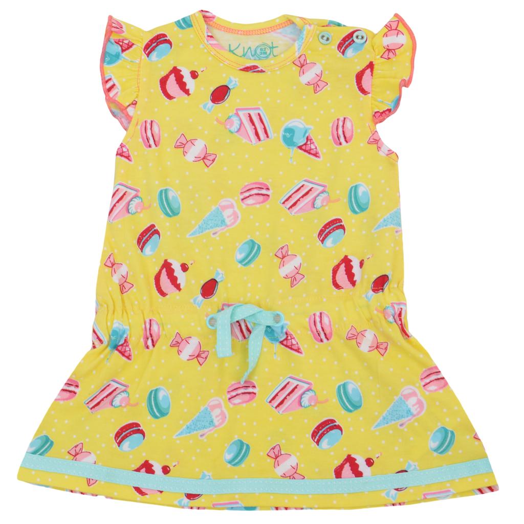 Бебешка лятна рокля със сладки жълта
