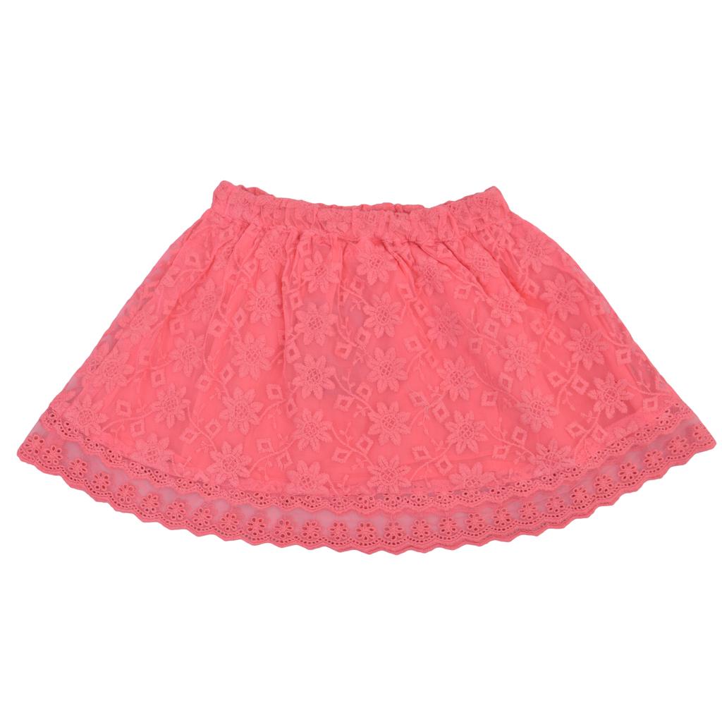 Детска пола с дантели и ластик розова