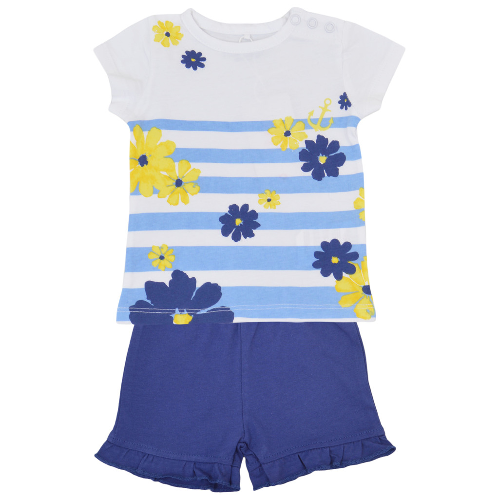 Летен комплект на цветя с къдри на панталонките син