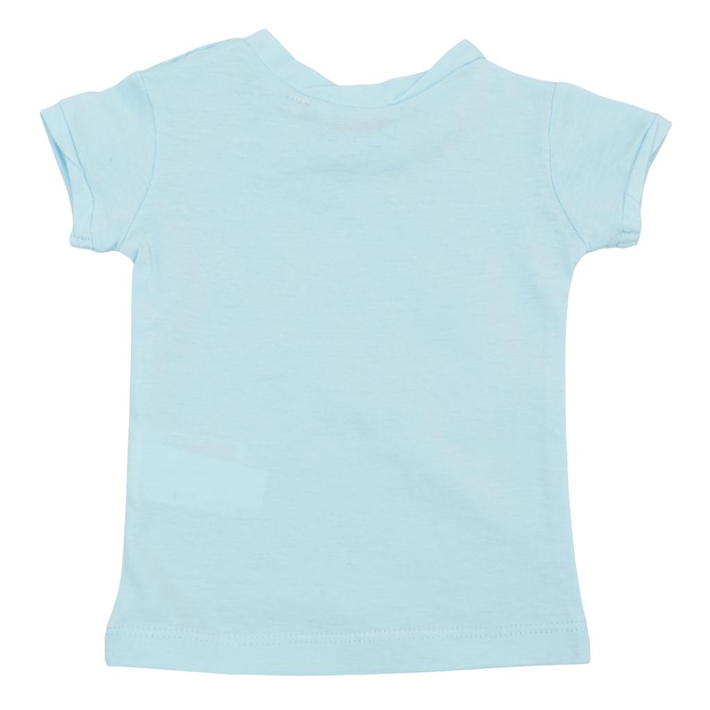 Бебешка блуза с набор и щампа със сърца светло синя