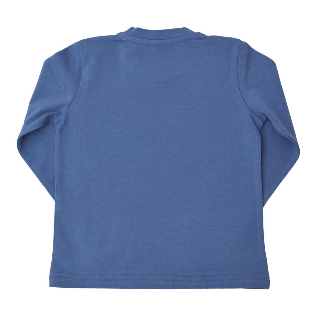 Детска блуза с дълги ръкави с маймуна тъмно синя