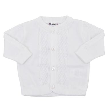 Бебешка плетена памучна жилетка с плетеници бяла