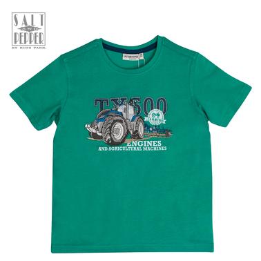 Тениска с бродиран трактор от Salt & Pepper в зелено