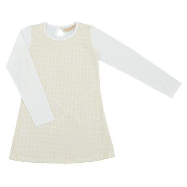 Елегантна детска рокля с плетена мрежа отпред и връзки екрю