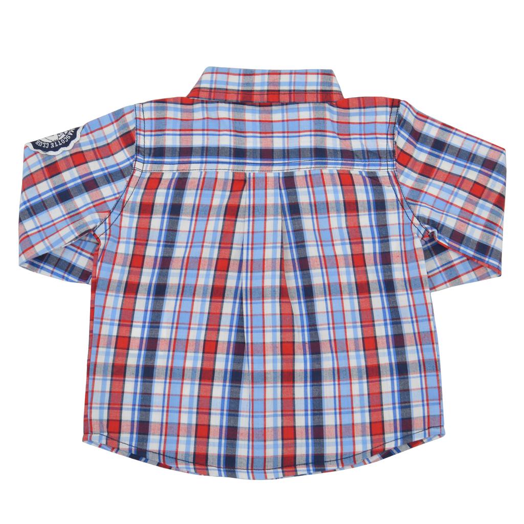 Карирана риза с дълъг ръкав и капачета с копче червена