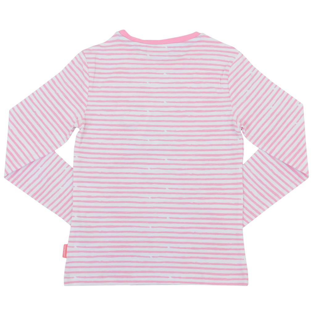 Блуза на райета с красив кон от Salt & Pepper в розово