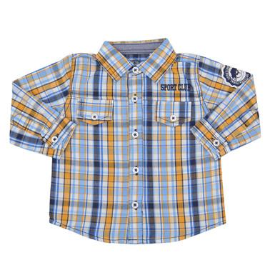 Карирана риза с дълъг ръкав и капачета с копче жълта