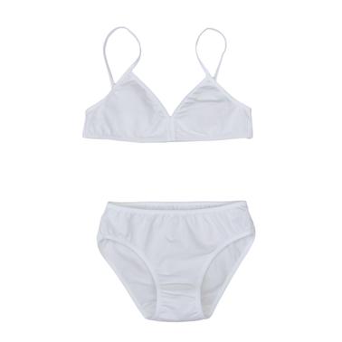 Комплект бюстие с тънки презрамки и бикини в бяло