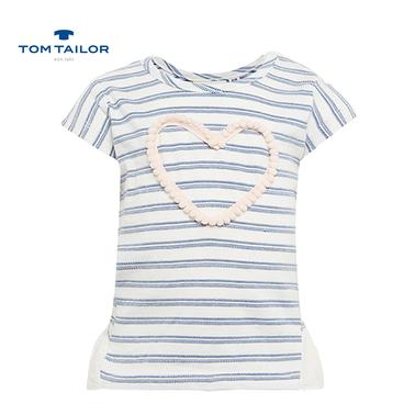 Блузка на райета с къс ръкав и сърце Tom Tailor синя