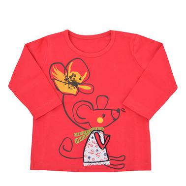 Блуза с релефна щампа на мишле с цвете малина