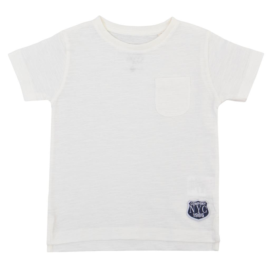 Лятна детска блуза с джобче и емблема екрю