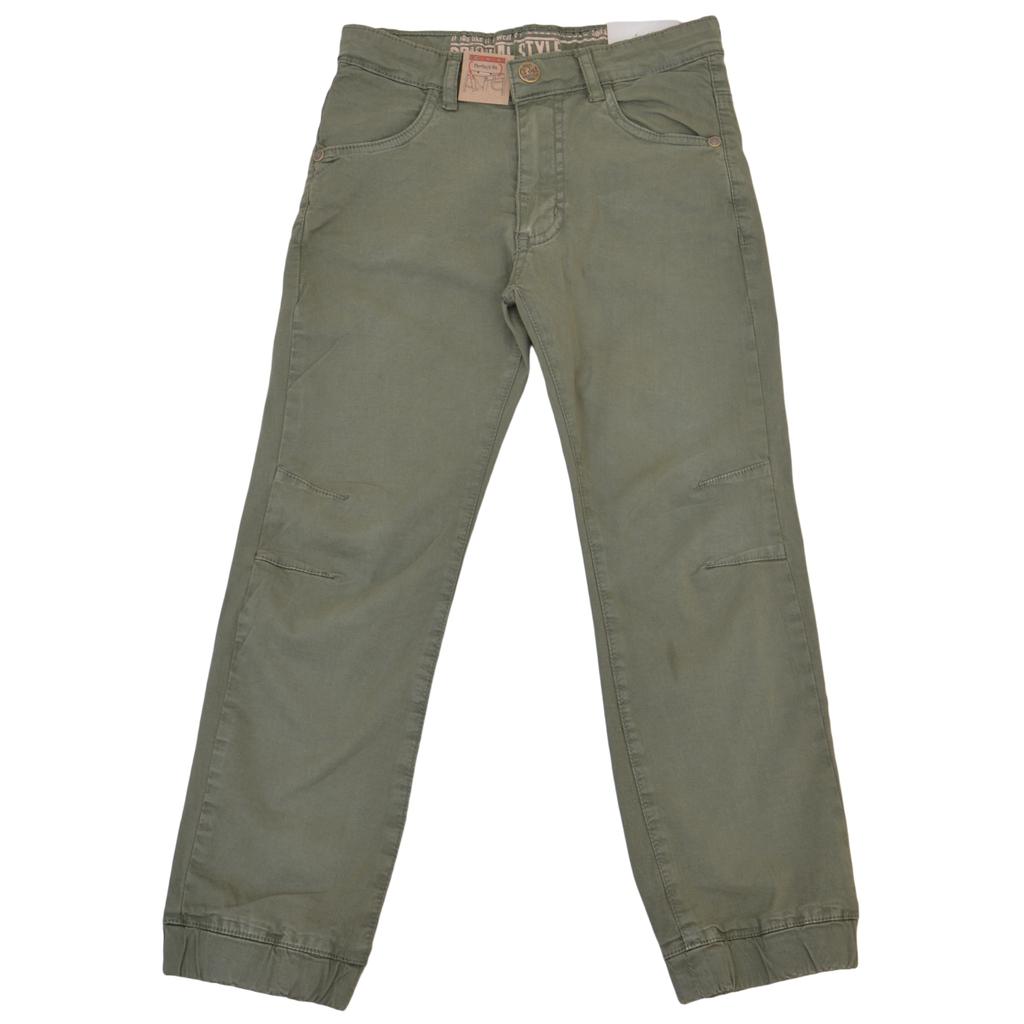 Памучен спортен панталон с ластик на крачолите каки