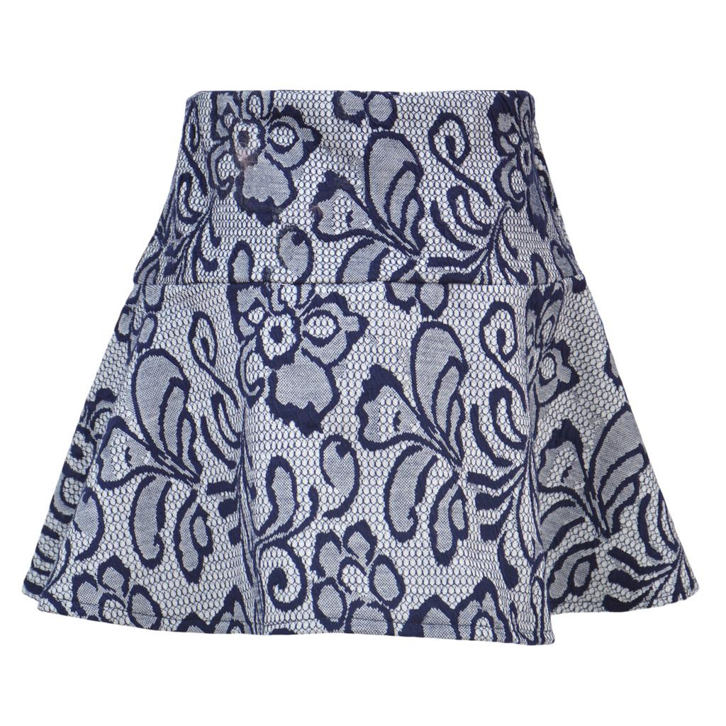 Елегантна пола на цветя синя