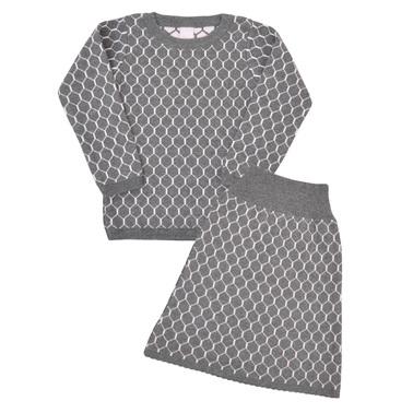 Елегантен детски плетен комплект от блуза и пола сив