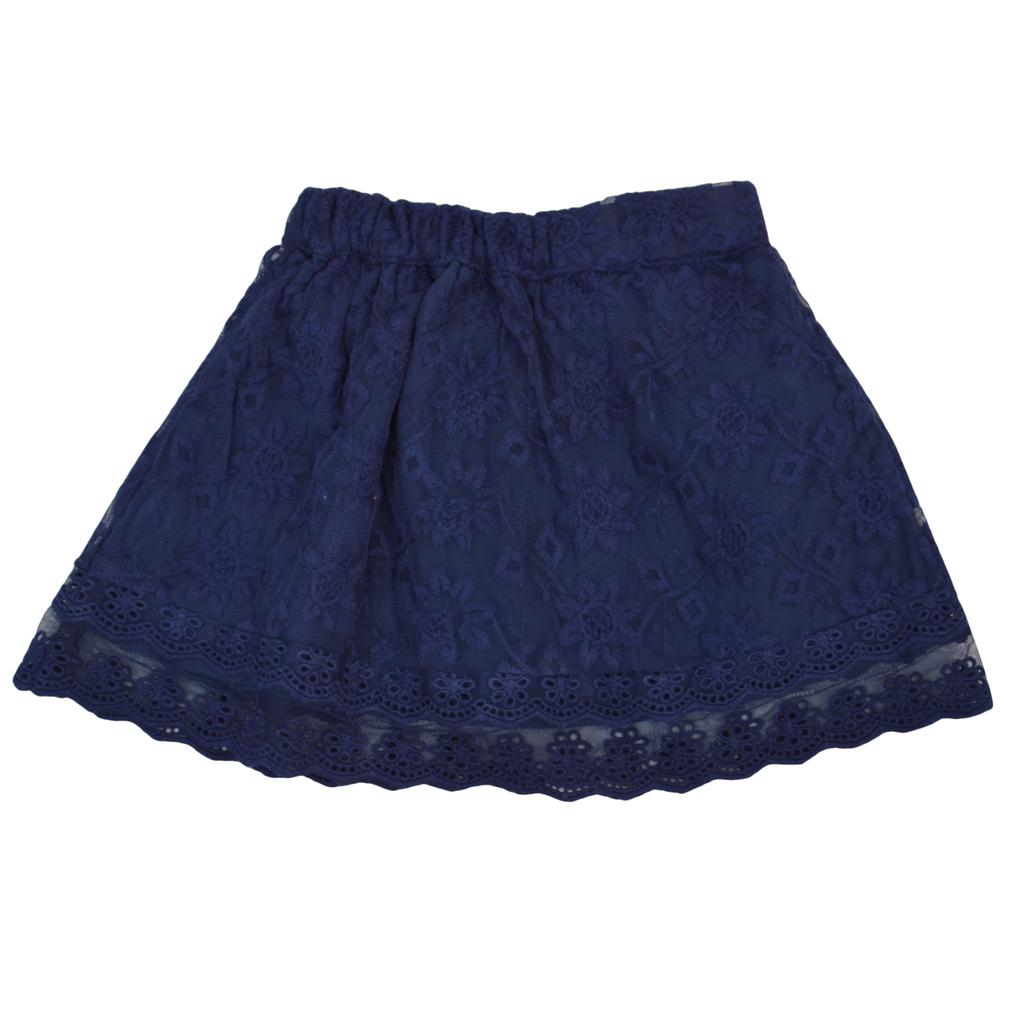 Детска пола с дантела тъмно синя