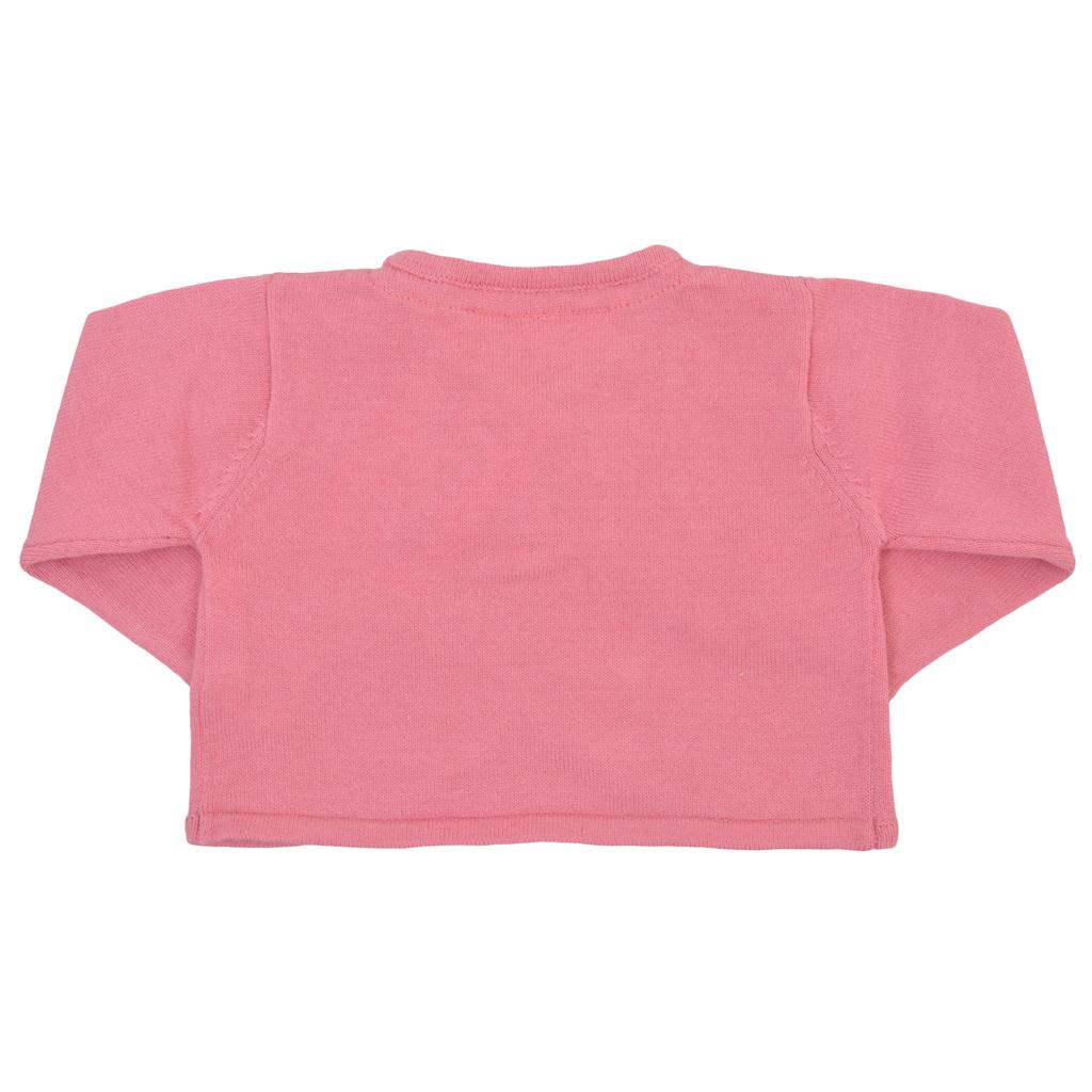 Къса плетена жилетка с панделка в розово