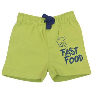 Къси панталонки с ластик и щампа отпред зелени