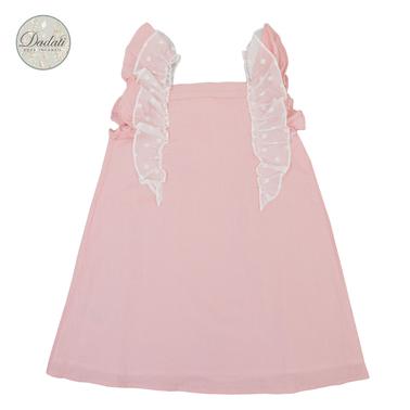 Елегантна рокля трапец с къдрички от Dadati в розово