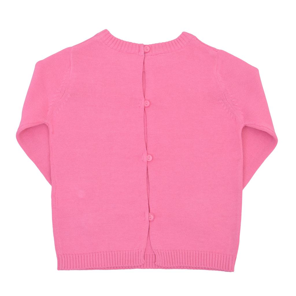 Плетена блуза дълъг ръкав с камъчета розова
