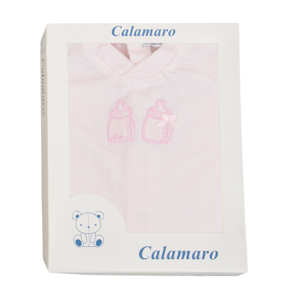 Бебешки плюшен гащеризон с бродерия с биберони розов