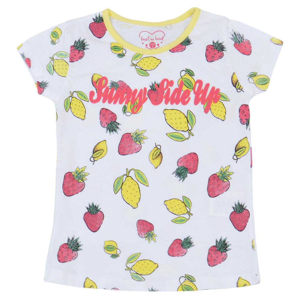 Летен сет с тениска на плодове и едноцветна пола жълт