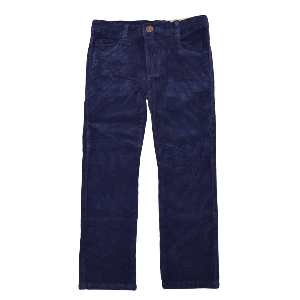 Кадифен панталон в класическа кройка тъмно син