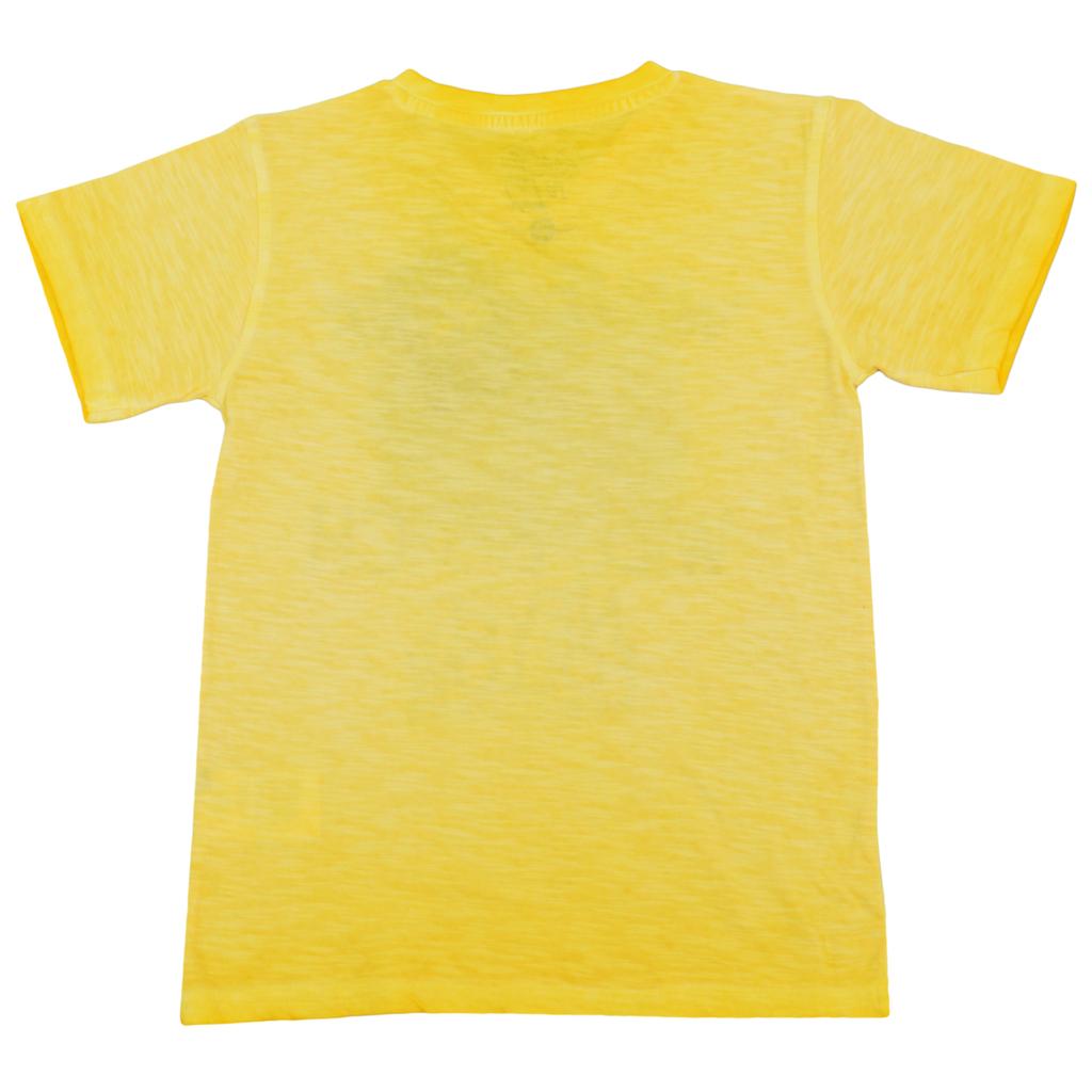 Блуза къс ръкав с щампа на сърфист състарена жълта