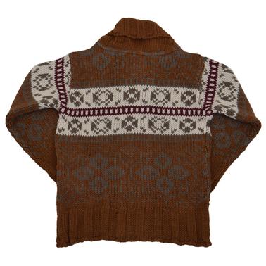 Плетена жилетка с яка кафява