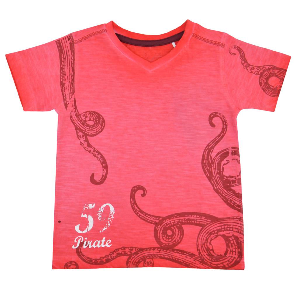 Детска лятна блуза с октопод червена