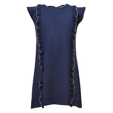 Плетена рокля с къдри без ръкав тъмно синя