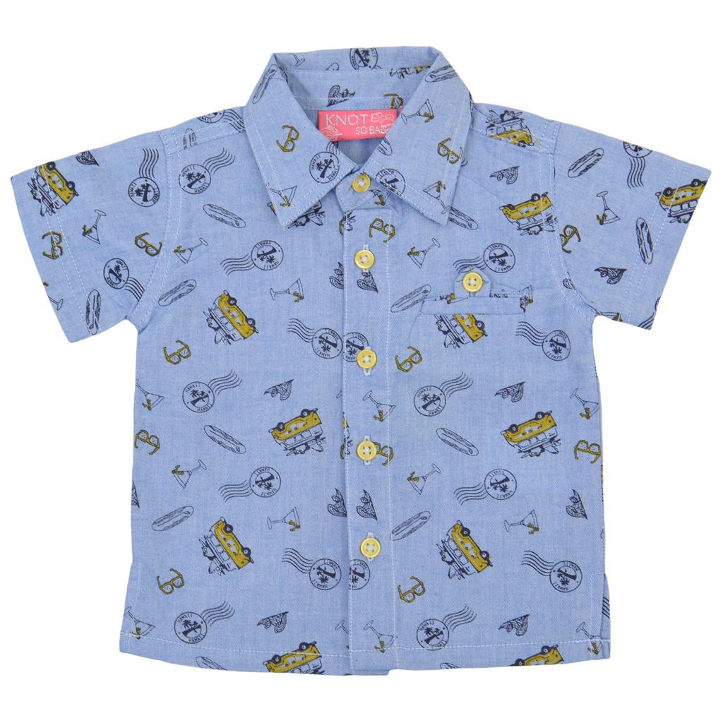 Риза къс ръкав с картинки и джобче жълта