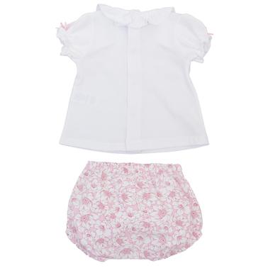 Комплект блуза къс ръкав с дантела и гащи-балон на цветя розов