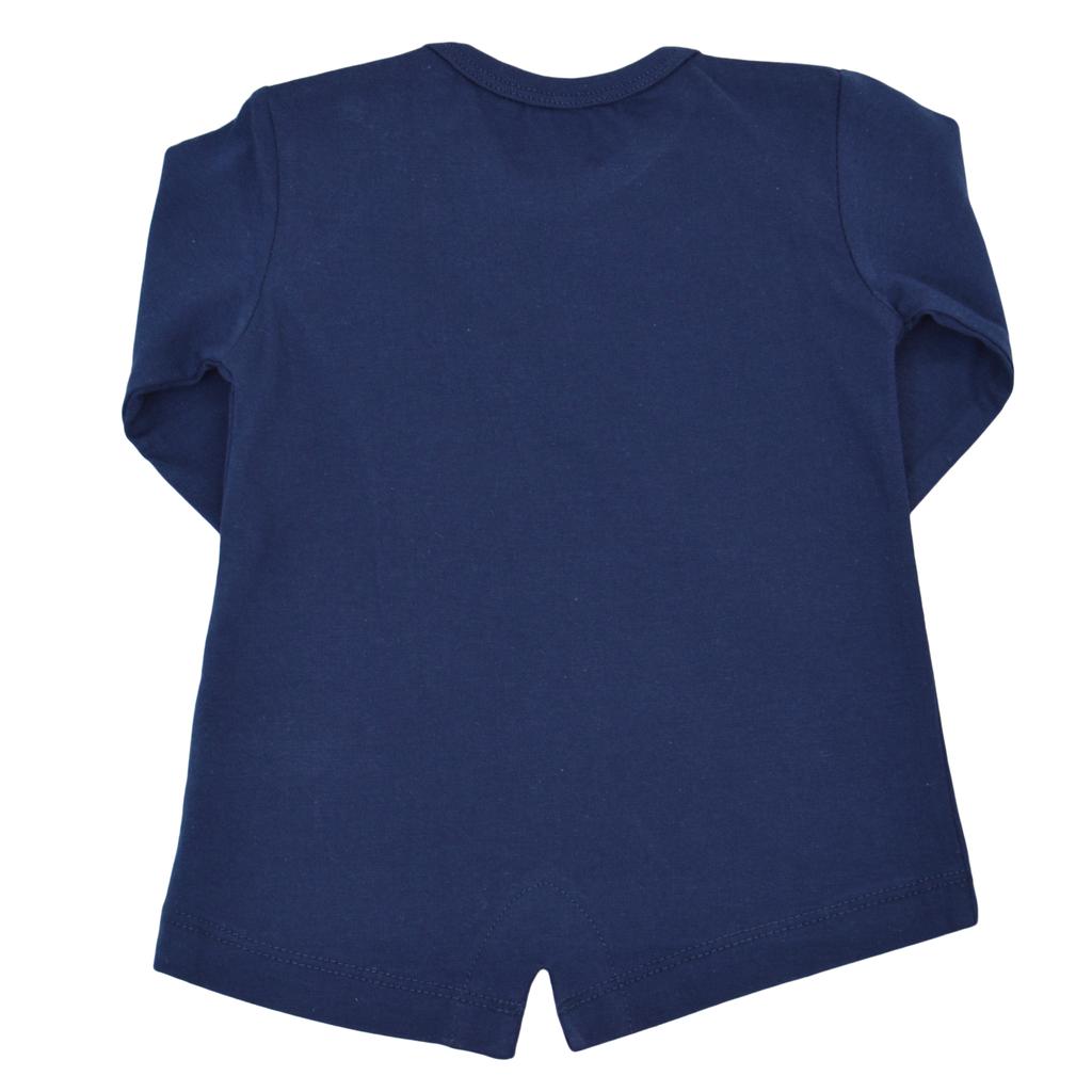 Бебешка туника с щампа с номер 86 тъмно синя