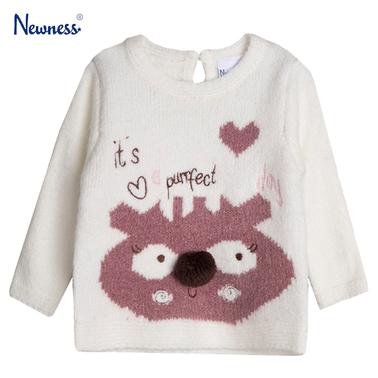 Топъл пуловер с еленче от Newness бял