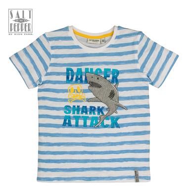 Тениска на райета с бродирана акула от Salt & Pepper в синьо