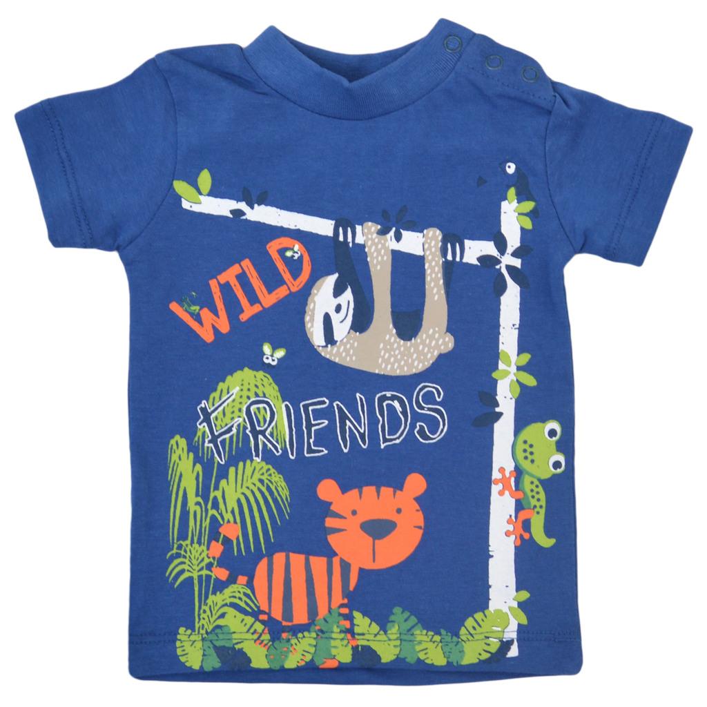 Сет от две тениски с щампи на диви животни син