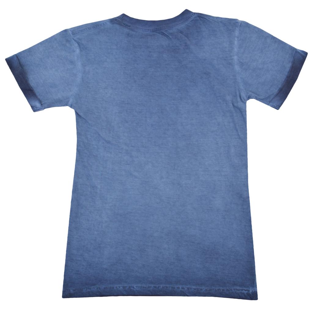 Блуза къс ръкав с обърнат кант състарена синя
