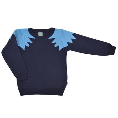 Плетен детски пуловер тъмно син